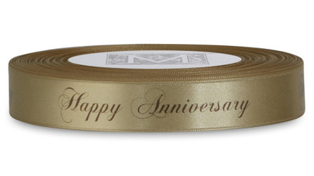 """Double Faced Satin Sayings - Brown ink """"Happy Anniversary"""" on Blonde"""