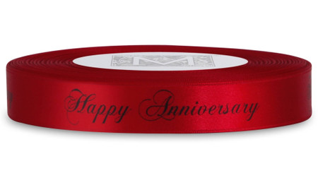 """Double Faced Satin Sayings - Black ink """"Happy Anniversary"""" on Red"""