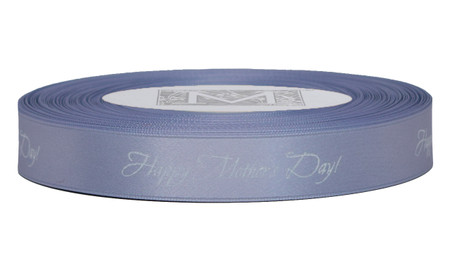 """White ink """"Happy Mother's Day!"""" on Heliotrope Ribbon - Double Faced Satin Sayings"""