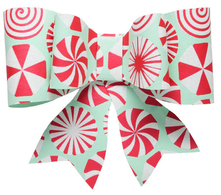 Paper Bow Topper - Peppermint Mint/Red