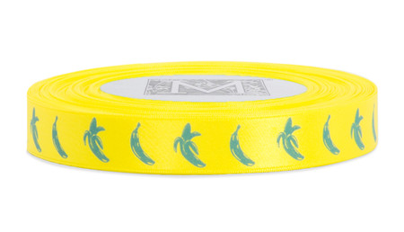 Blue ink Banana on Golden Chain Ribbon - Double Faced Satin Symbols