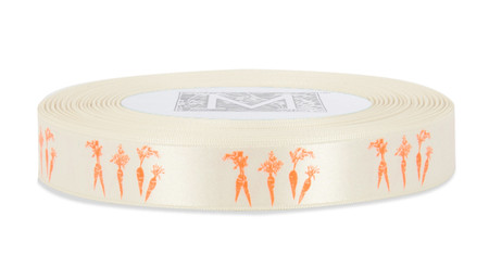 Orange ink Carrots on Bone Ribbon - Double Faced Satin Symbols