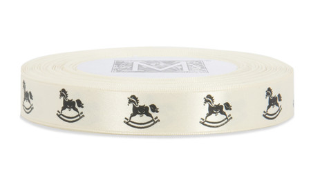 Black ink Rocking Horse on Bone Ribbon - Double Faced Satin Symbols