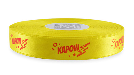 """Red Ink """"Kapow"""" on Golden Chain Ribbon - Double Faced Satin Sayings"""