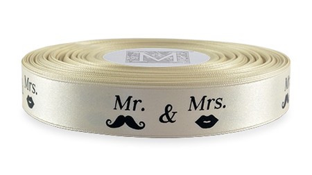 "Black ink ""Mr. & Mrs."" on Bone Ribbon - Double Faced Satin Sayings"