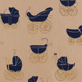 Gift Wrap - Buggy - Navy on Pink