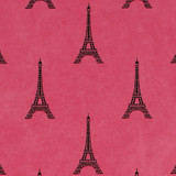 Gift Wrap - Eiffel Tower - Black on Pink