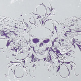 Gift Wrap - Skull Wings -Ice Blue