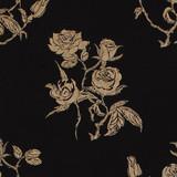 Gift Wrap - Roses - Gold on Black
