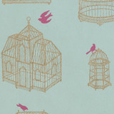 Gift Wrap - Birdcage - Pink Bird on Blue