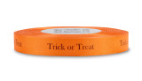 "Rayon Trimming Sayings - Black ""Trick or Treat"" on Persimmon"