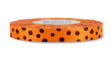 Black Polka Dots on Persimmon Rayon Trimming Ribbon