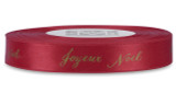 "Double Faced Satin Sayings - Gold ink ""Joyeux Noel"" on Red"