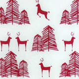 New! Gift Wrap - Reindeer & Tree - Silver and Garnet Red