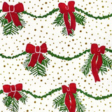 Gift Wrap - Garland - White/Green/Red