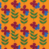 New! Gift Wrap - Flower Power - Marigold/Blue/Raspberry