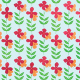New! Gift Wrap - Flower Power - Mint Green/Orange/Red