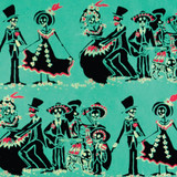 New! Gift Wrap - Day of the Dead - Turquoise/Black
