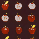 New! Gift Wrap - Apples - Eggplant/Red Metallic Silver