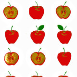 New! Gift Wrap - Apples - White/Red Metallic Gold