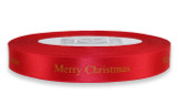"""Gold """"Merry Christmas """" on Red Ribbon - Double Faced Satin Sayings"""