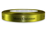"Black ""Merry Christmas "" on Fig Ribbon - Double Faced Satin Sayings"