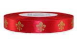 White Gold Fleur De Lis on Red Ribbon - Double Faced Satin Symbols
