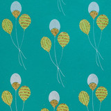 NEW! Gift Wrap - Balloons - Aqua Blue/Green/Metallic Silver/Glitter