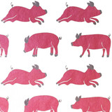 NEW! Gift Wrap - Pigs - White/Pink/Metallic Silver