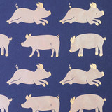 NEW! Gift Wrap - Pigs - Metallic Gold/Peach/Navy