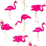 NEW! Gift Wrap - Flamingo - White/Pink/Metallic Gold