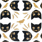 Gift Wrap - Meow Meow - White/Black/Metallic Black