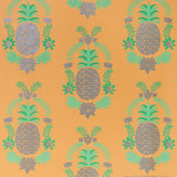 NEW! Gift Wrap - Floral Pineapple - Silver Metallic/Light&Medium Green/Peach