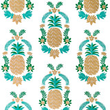 Gift Wrap - Floral Pineapple - White/Green/Metallic Gold