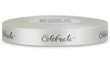 "Double Faced Satin Sayings - Black ink ""Celebrate"" on Bone"