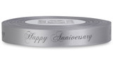 "Double Faced Satin Sayings - Dark Gray ink ""Happy Anniversary"" on Sterling"