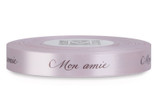 "Double Faced Satin Sayings - Brown ink ""Mon Amie"" on Cherry Blossom"