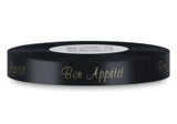 "Double Faced Satin Sayings - Gold ink ""Bon Appetit"" on Black"