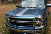 2014 Silverado Center Hood Stripe Decal - Silver