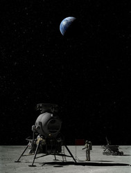 Poster N-1, For the Moon and Mars, LK Lander on Moon *