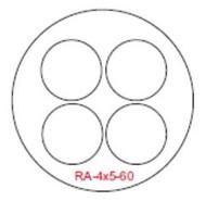 Semroc Centering Ring 4xBT-5 to BT-60 Fiber(3pk)  SEM-RA-4x5-60 *