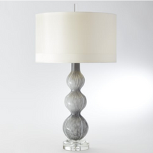 Swirl Grey Lamp With White Ribbon Drum Shade