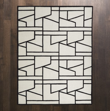 Global Views Zig Zag Black & Ivory Wool  Area Rug 8 x 10