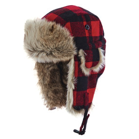 WOOLRICH FAUX FUR AVIATOR RED/BLK