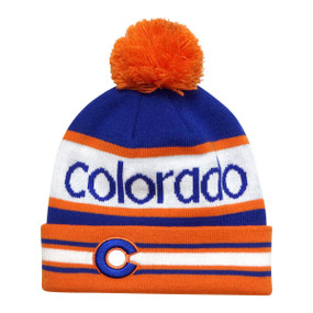 ORANGE BRONCO PUFF BEANIE