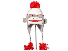 CUTE SOCK MONKEY HAT GREY KIDS