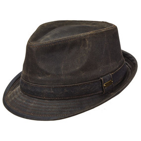 DISTRESSED COTTON FEDORA