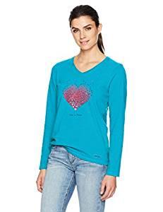 WMNS L/S V TINY HEARTS LIG