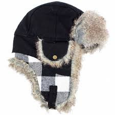WOOLRICH FAUX FUR AVIATOR WHITE PLAID