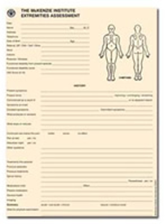 EXTREMITIES ASSESSMENT FORMS (50/PAD)